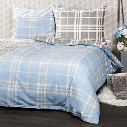 4Home Flanelové obliečky Modrá kocka, 140 x 220 cm, 70 x 90 cm