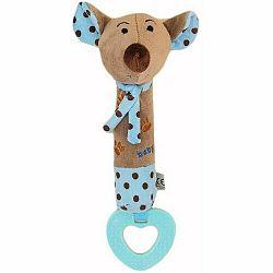 Baby Mix pískacia plyšová hračka s hryzátkom myšky modrá