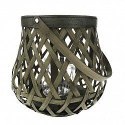 Bambusový lampáš so sklom Boras, 26 x 24 cm