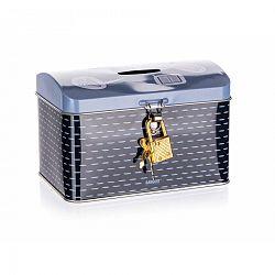 BANQUET Plechovka - kasička truhla 4KIDS 12,8 x 8,4 x 8,4 cm, modrá