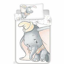 Jerry Fabrics Detské bavlnené obliečky do postieľky Dumbo grey baby, 100 x 135 cm, 40 x 60 cm