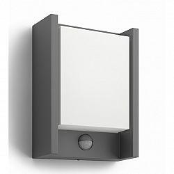Philips 16461/93/16 Arbour Vonkajšie nástenné LED svietidlo s čidlom 22 cm, antracit